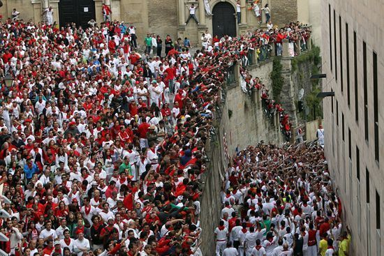RUnning of the bulls of Pamplona, in Santo Domingo Street.
