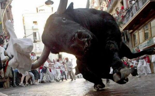 Sanfermines, Running of the bulls. Pamplona